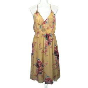 ANTHROPOLOGIE Meadow Rue Gold Rose Slip Dress Med